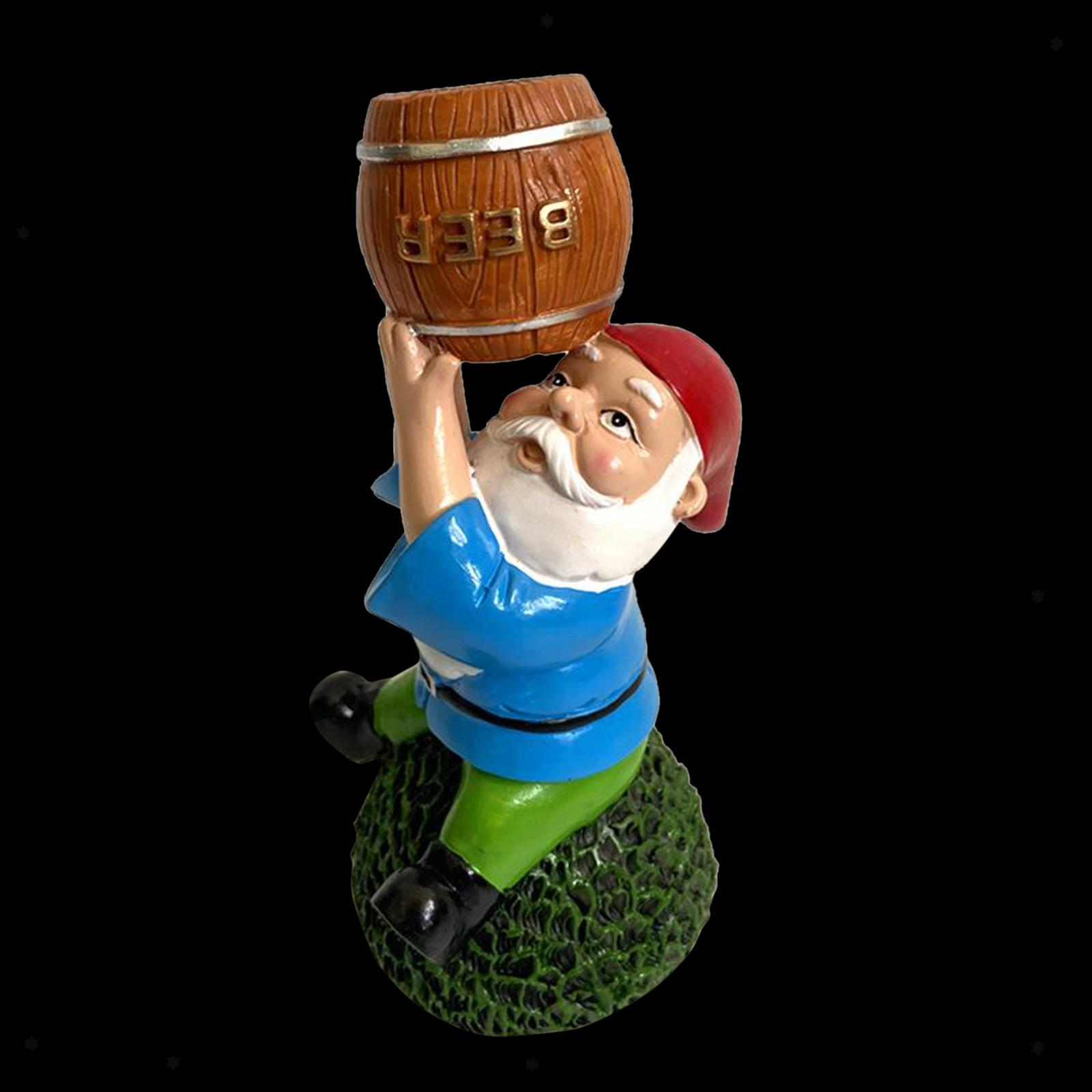 thumbnail 22 - Funny Resin Naughty Garden Gnome Statue Ornaments Villa Home Figurines