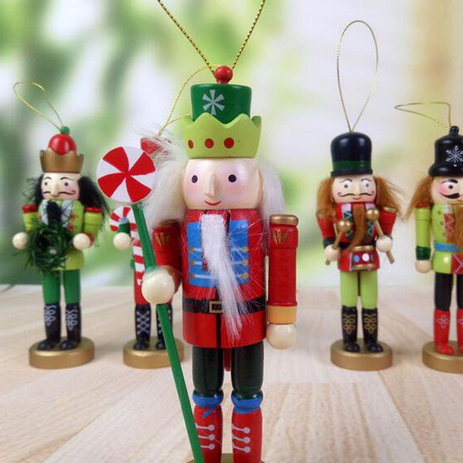 5X Nutcracker Soldier 12.5CM Wooden Craft Walnut Puppet Christmas Tree Ornament