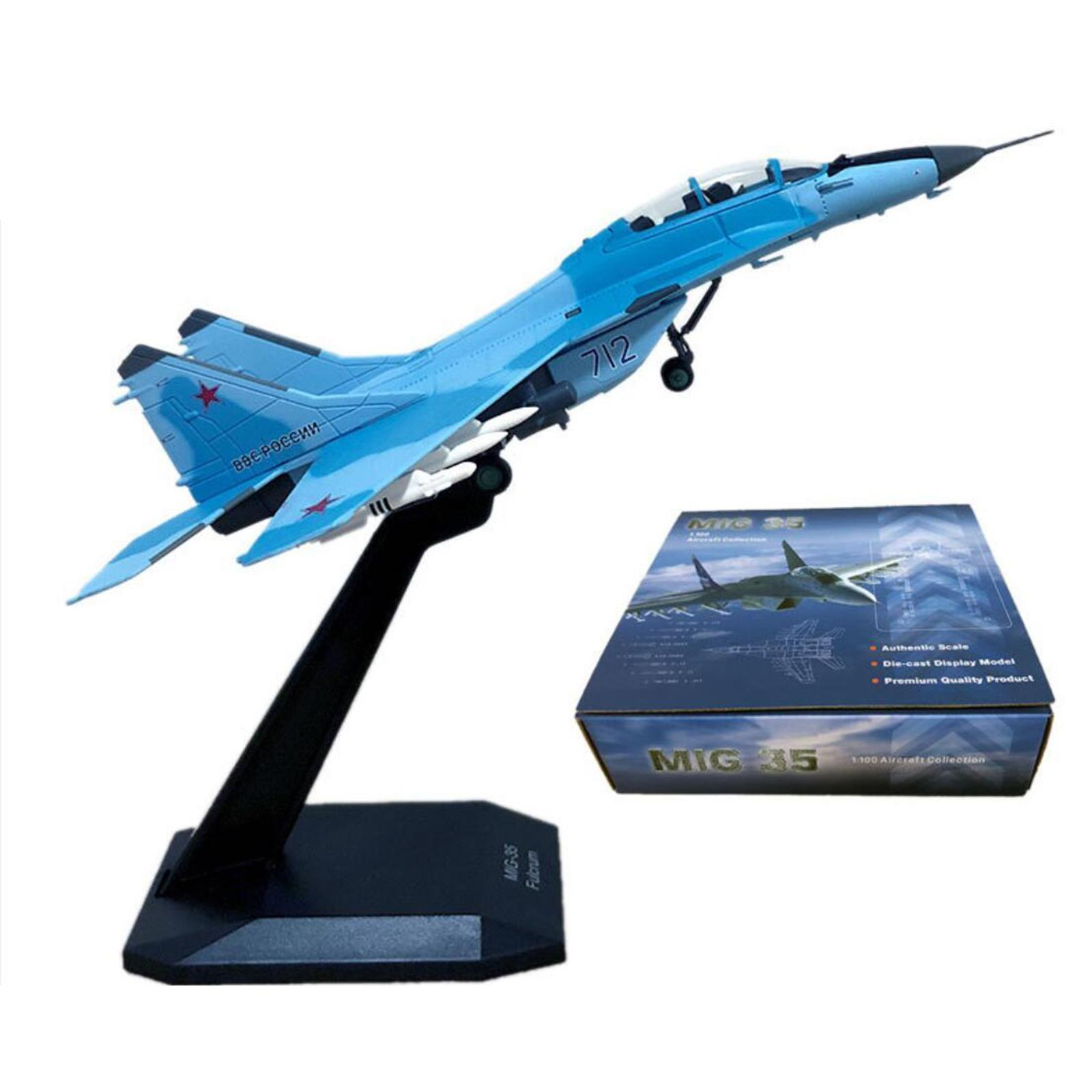miniatura 17 - 1pc 1/100 MIG-35 Aircraft Metallo Modello di Aereo di Plastica Collezionismo