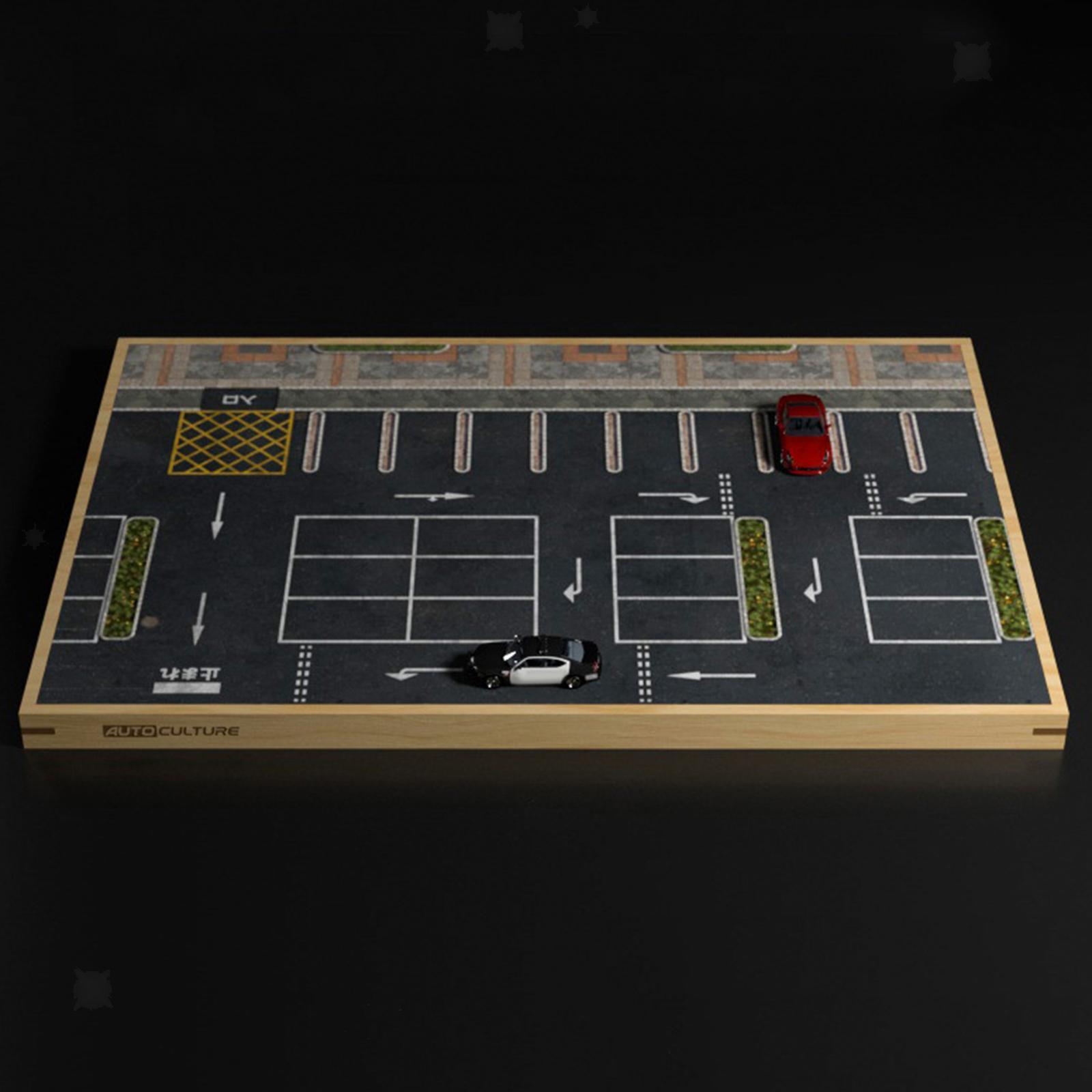 miniature 4 - En bois Diorama 1/64 Sol Parking Lot Scène pour Alliage Jouet De Voiture