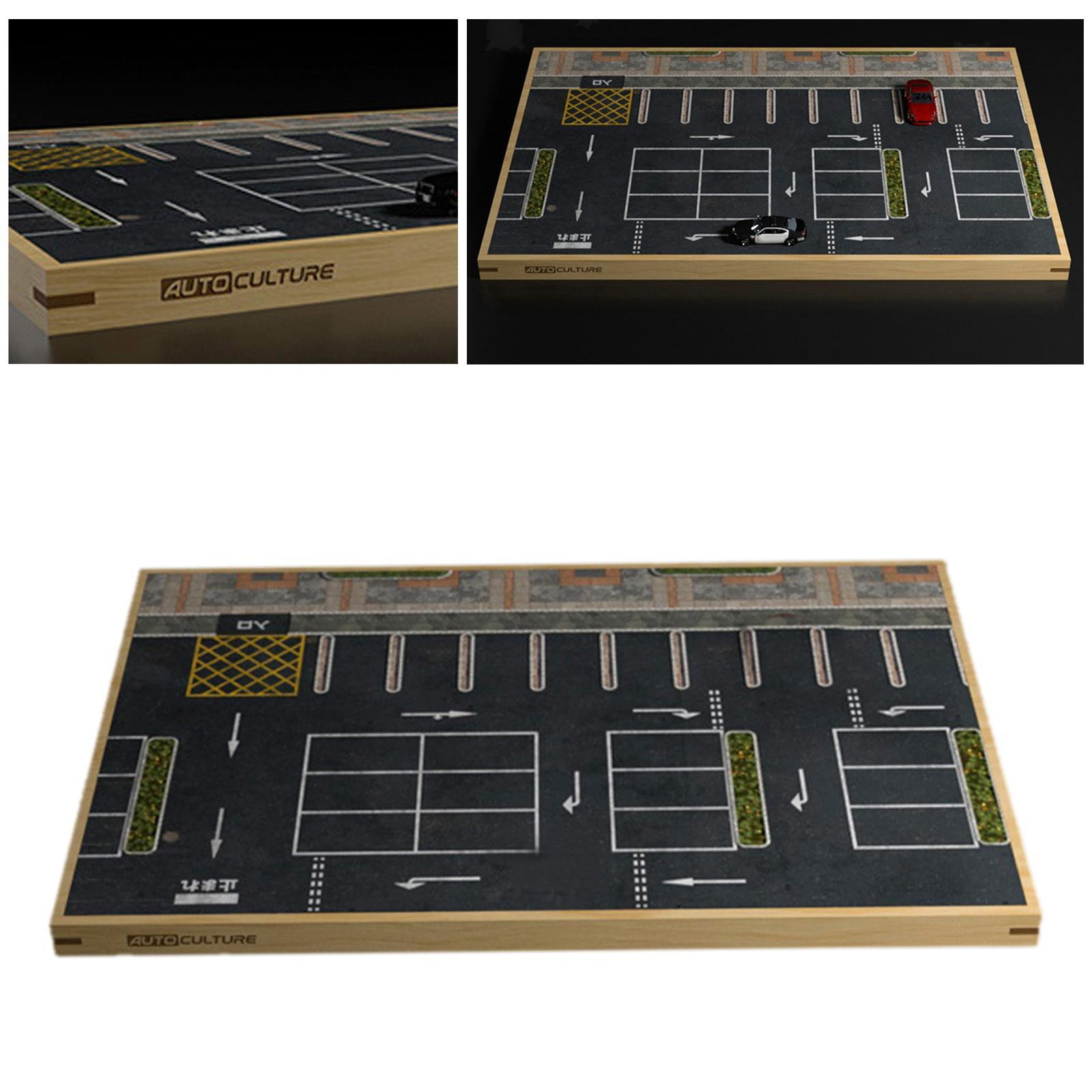 miniature 7 - En bois Diorama 1/64 Sol Parking Lot Scène pour Alliage Jouet De Voiture