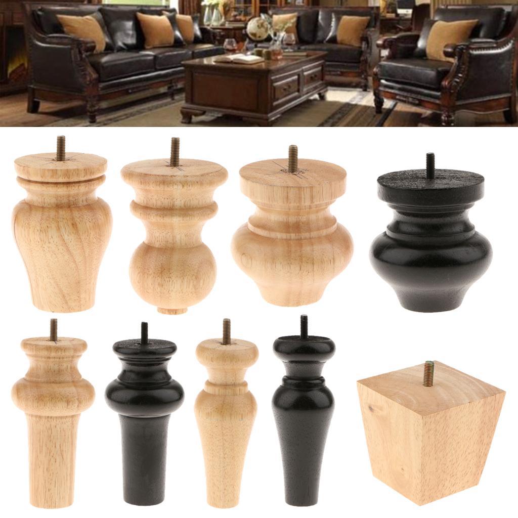 1 piezas de muebles patas de madera sólida sofá con silla con apoya pies Gabinete Pierna Pies no 5