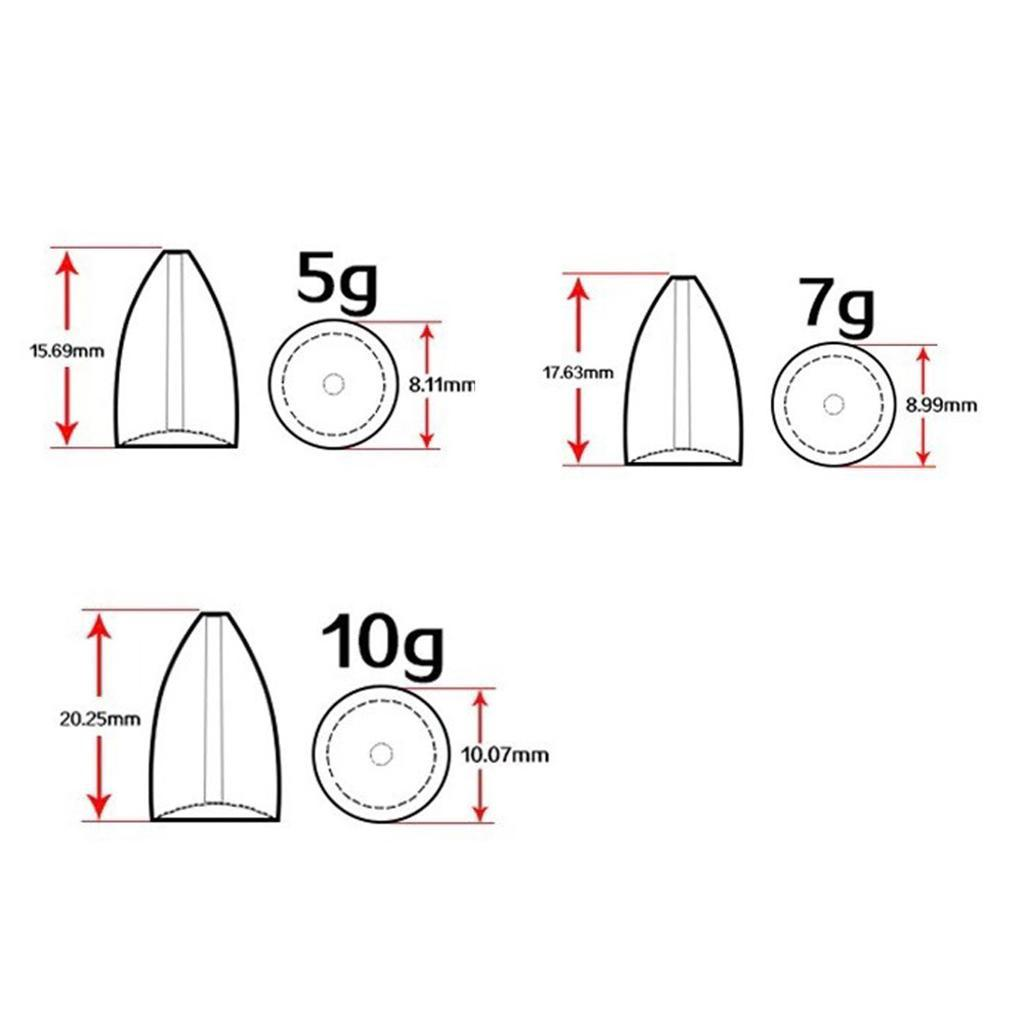 50x-Fishing-Water-Bullet-Shape-Lead-Sinkers-Weights-Bass-Casting-Fast-Sinker thumbnail 7