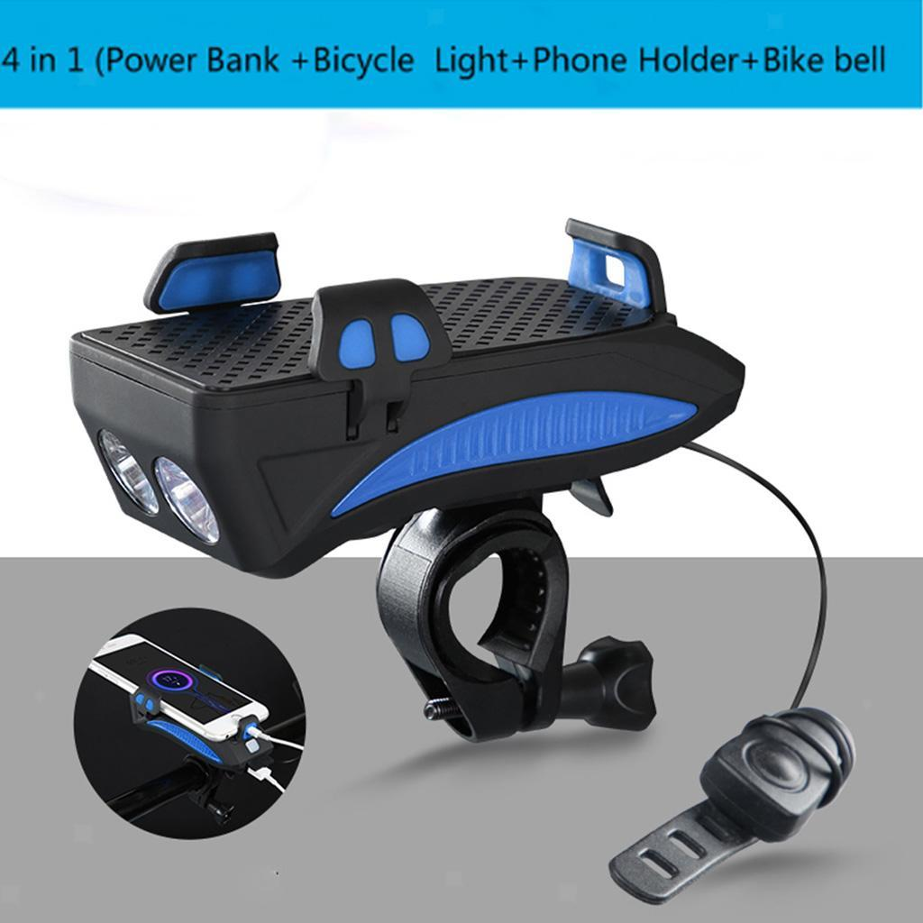 4 in1 USB Rechargeable LED Bicycle Bike Headlight Lamp w// Horn /& Phone Bracket
