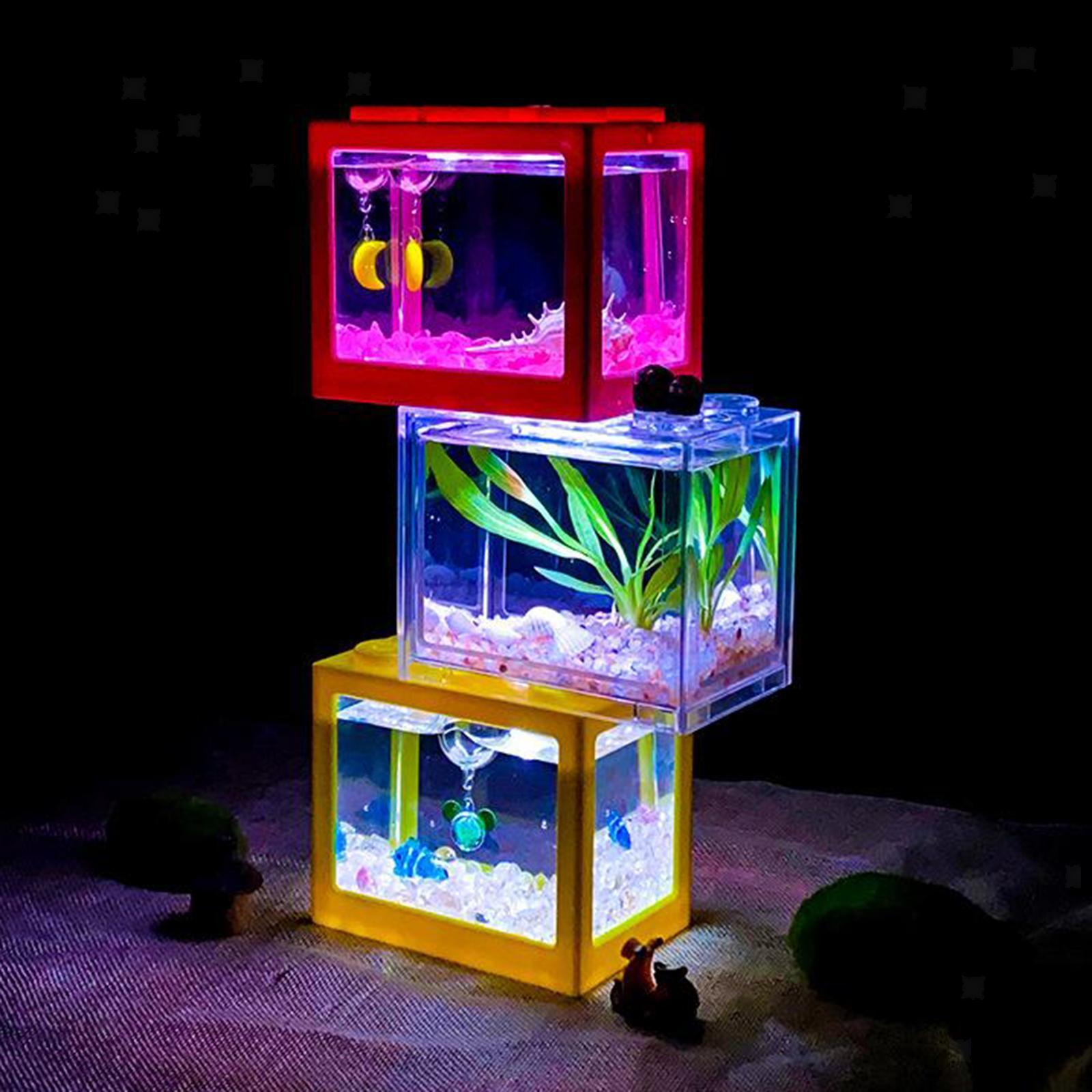 Mini Usb Aquarium With Lcd Display Desktop Fish Tank Led Clock Table Lamp White For Sale Online Ebay