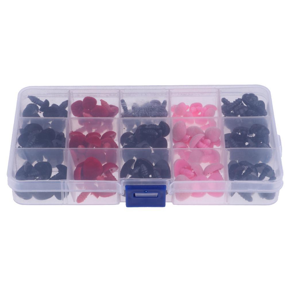 132 pièces 3 couleurs 11-16mm nez de sécurité en plastique pour ours en