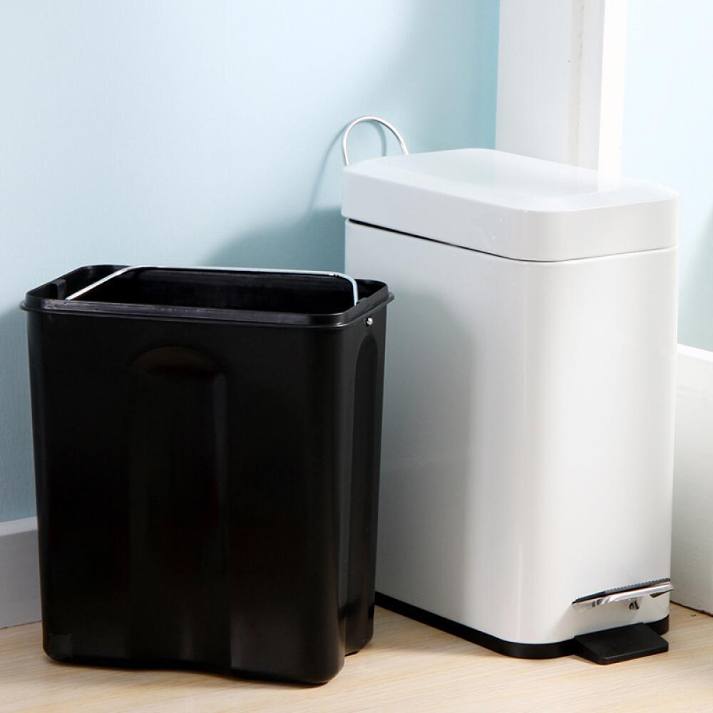 bathroom trash can with removable step-on lid wastebasket