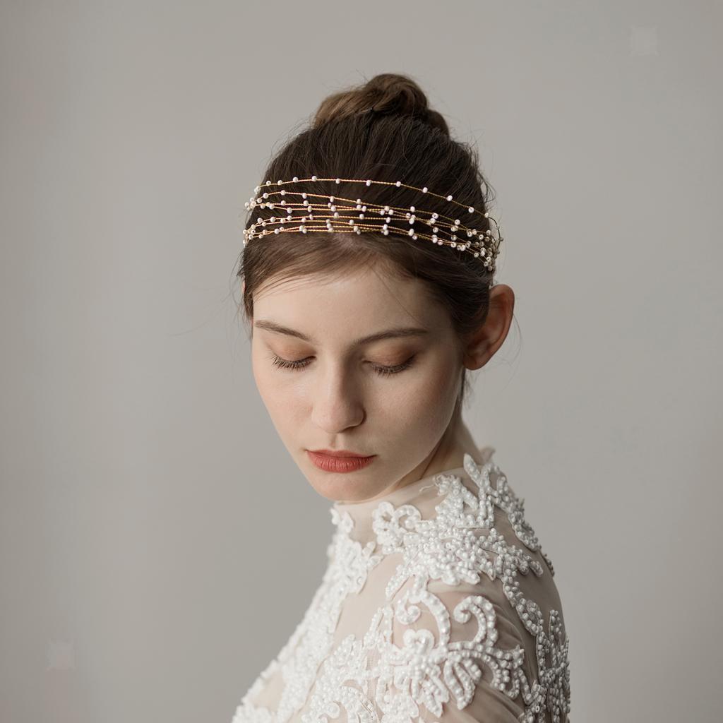 Golden-Wedding-Bridal-Hair-Vine-Headband-Pearls-Tiara-Crown-Headpiece thumbnail 4