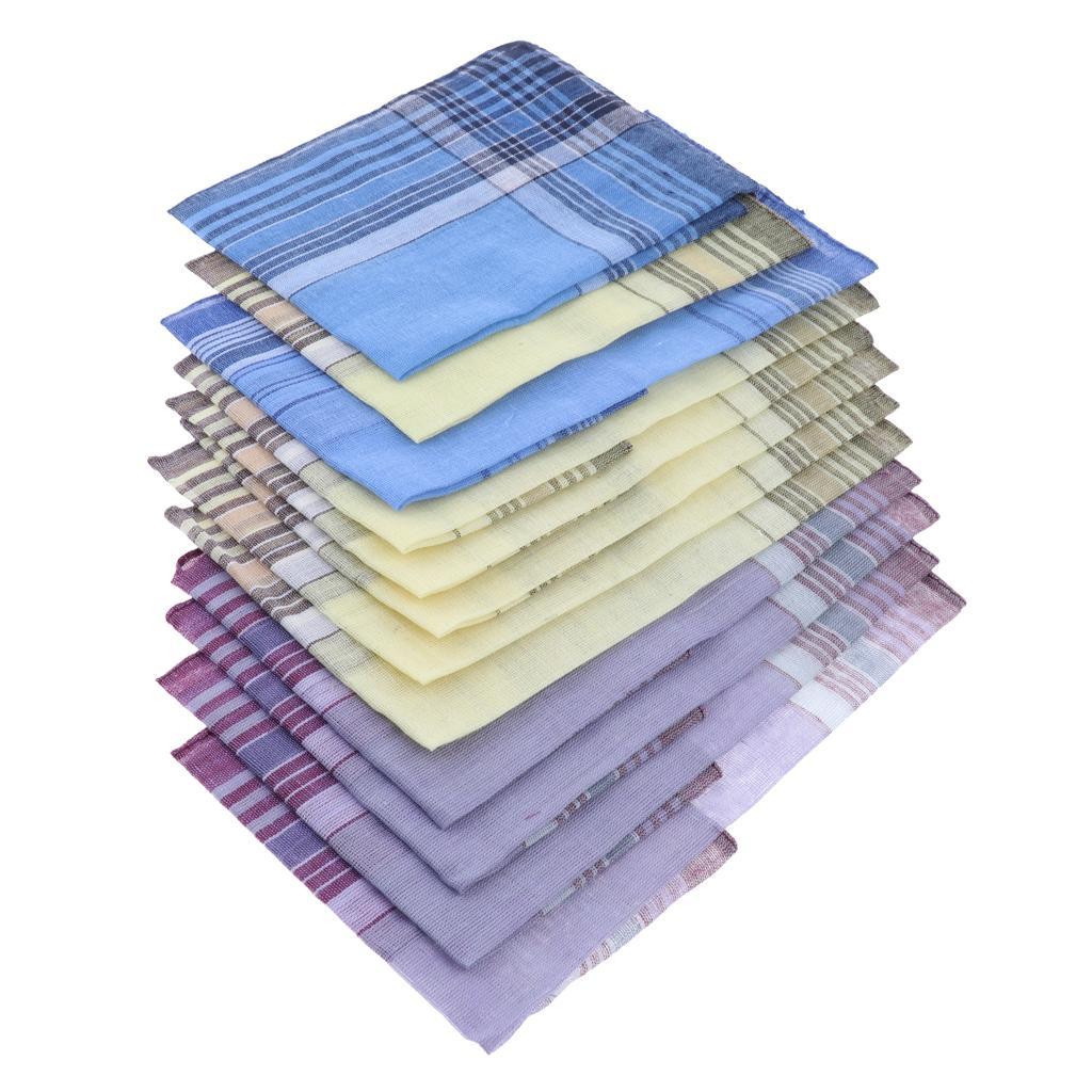 12Pack Classic Plaid Handkerchiefs Washable Pocket Square Hanky Hankie Lot