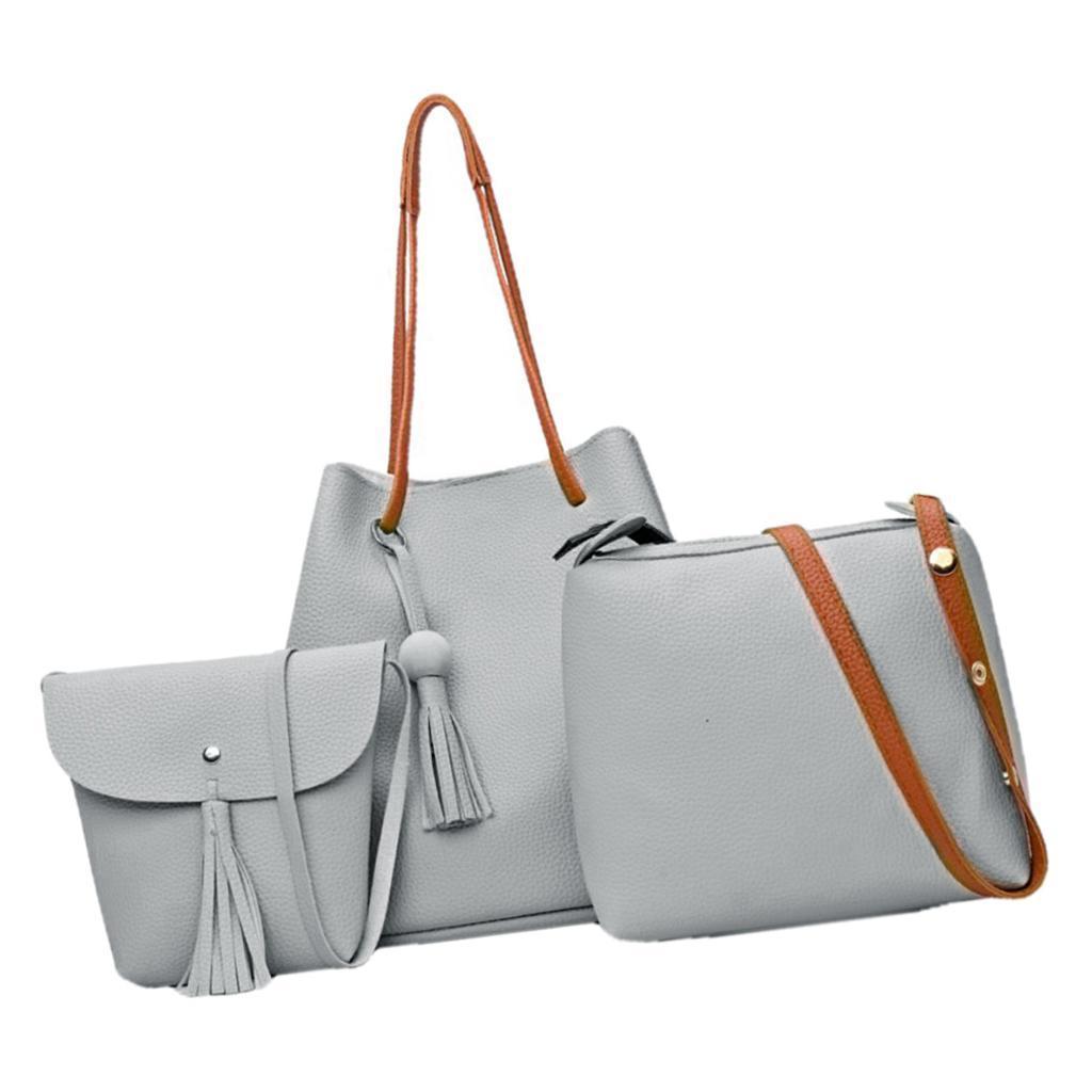 4-teiliges-Fashion-Damenhandtasche-Damen-Handtaschen-mit-Perlen-Anhaenger Indexbild 16
