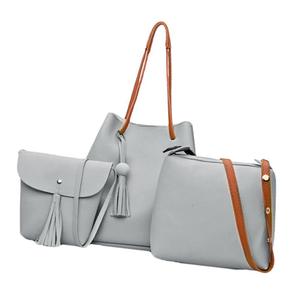 4-teiliges-Fashion-Damenhandtasche-Damen-Handtaschen-mit-Perlen-Anhaenger Indexbild 15