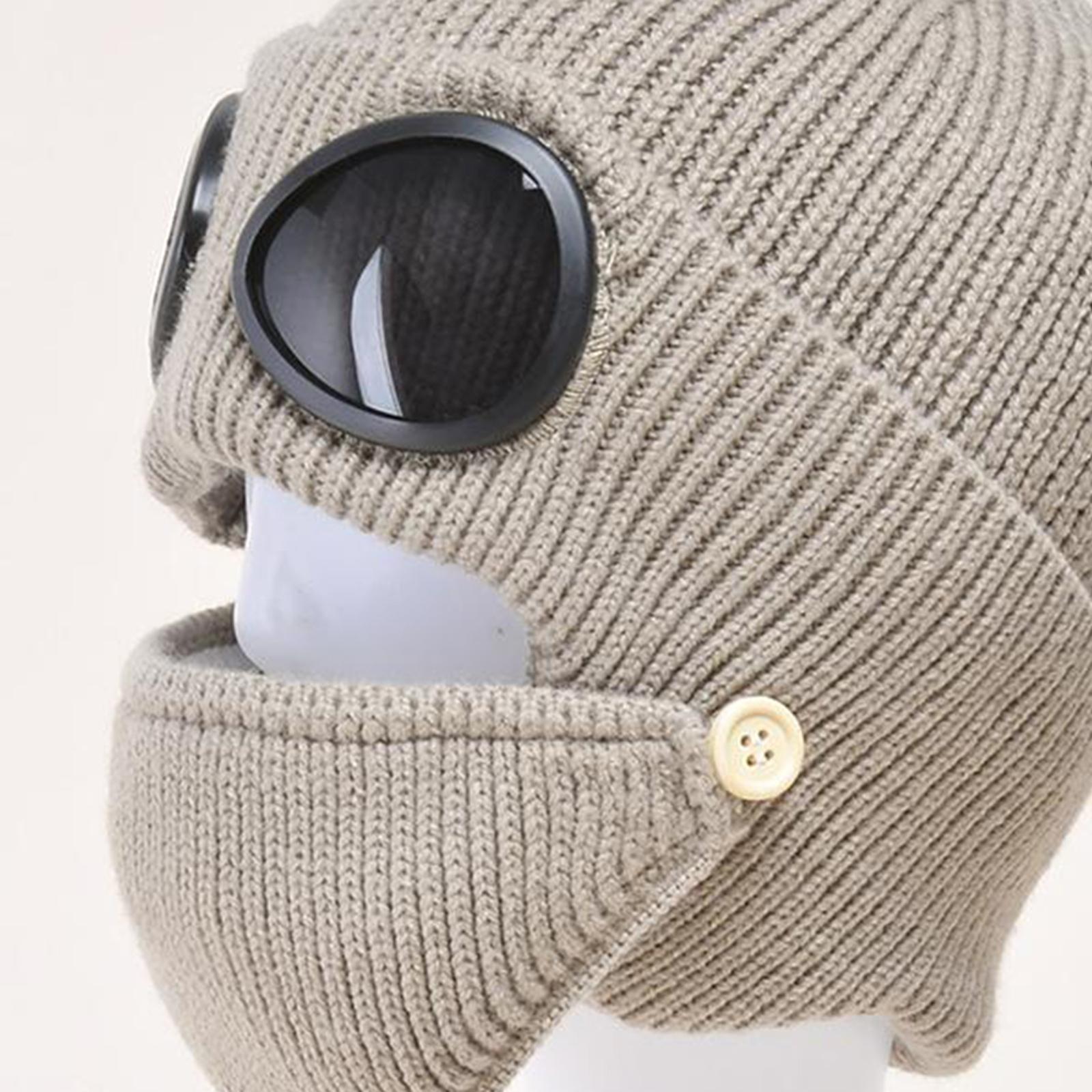 miniature 29 - Masque de tête de visage hiver bonnet chaud avec lunettes casquette d'oreille