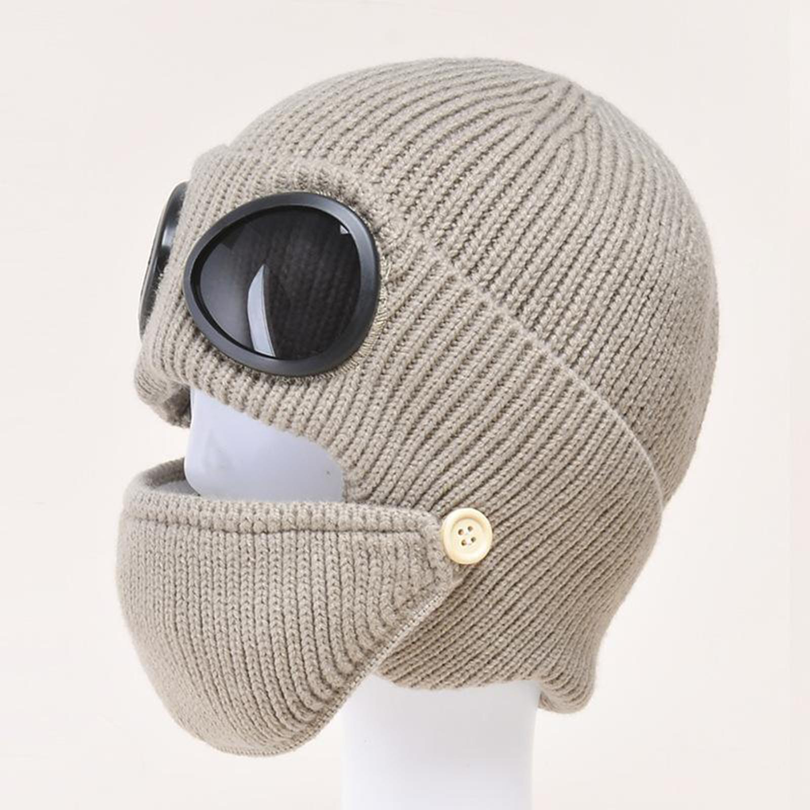 miniature 30 - Masque de tête de visage hiver bonnet chaud avec lunettes casquette d'oreille