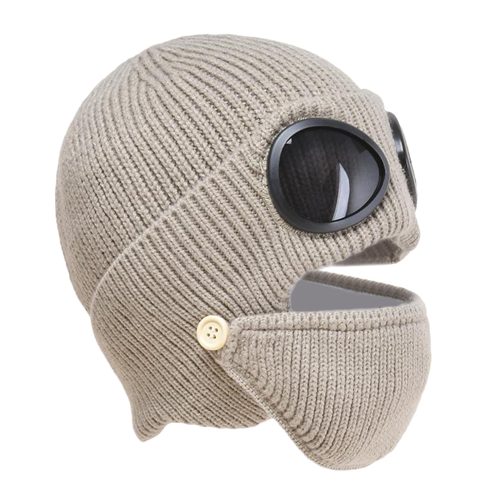 miniature 28 - Masque de tête de visage hiver bonnet chaud avec lunettes casquette d'oreille