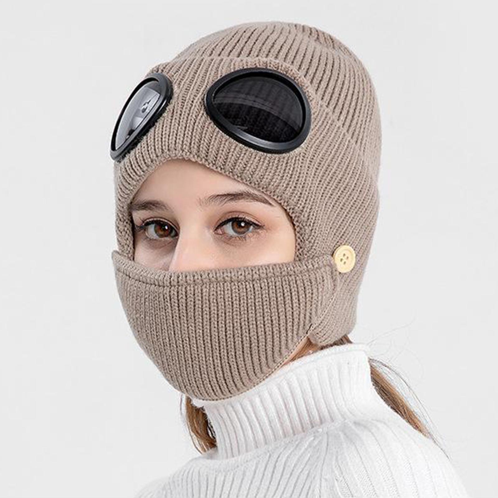 miniature 25 - Masque de tête de visage hiver bonnet chaud avec lunettes casquette d'oreille
