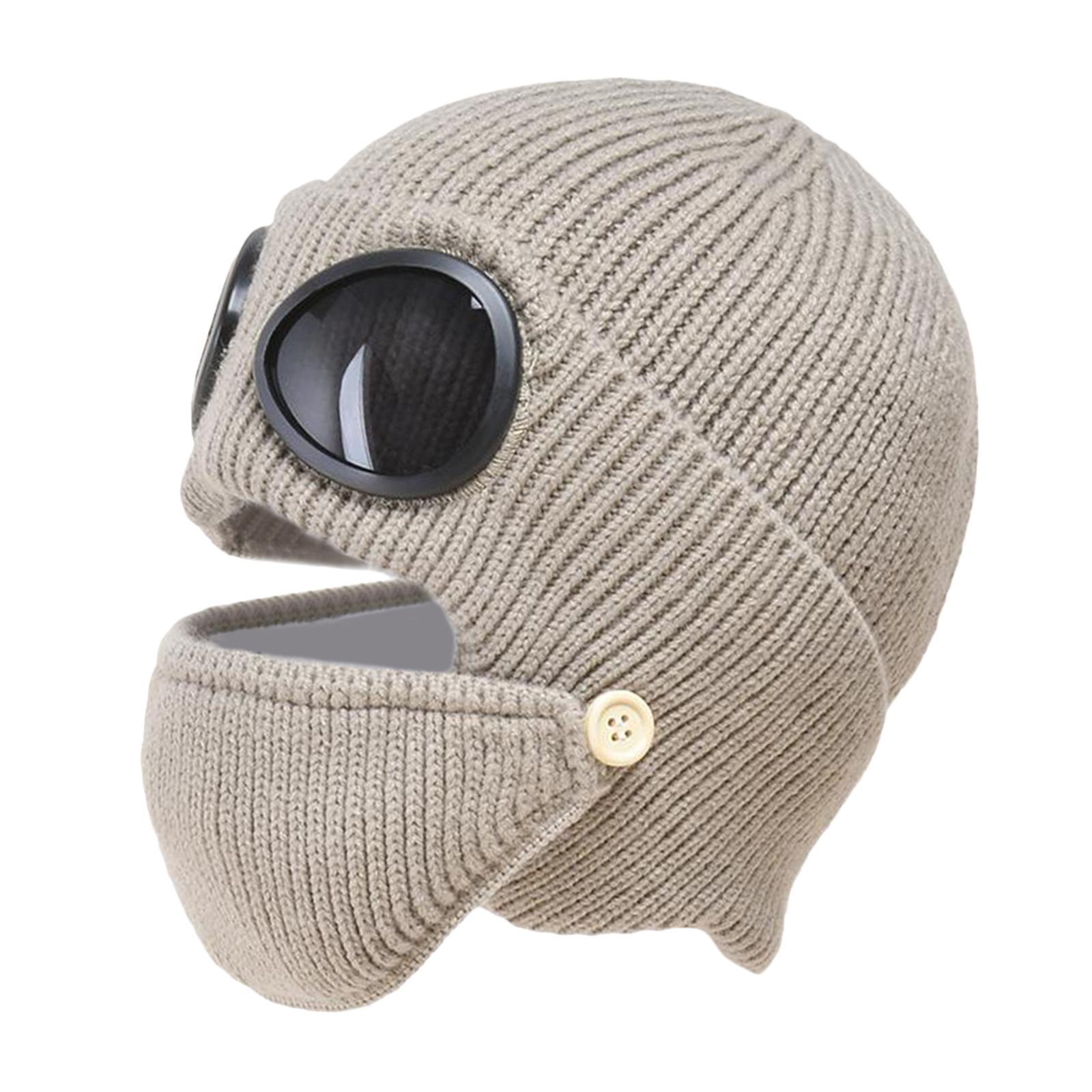 miniature 27 - Masque de tête de visage hiver bonnet chaud avec lunettes casquette d'oreille
