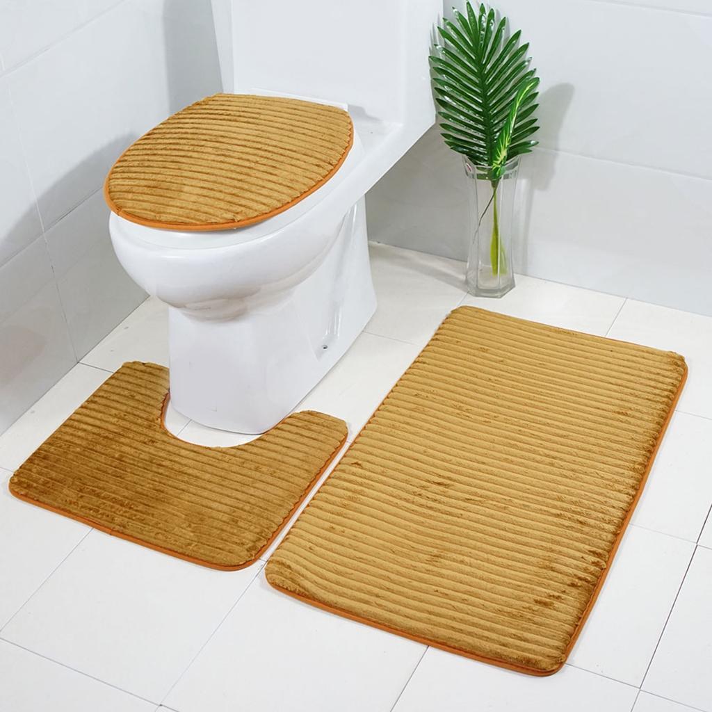 Badgarnitur-3-teilig-WC-Badvorleger-Duschmatte-Badeteppich-Badematte Indexbild 22