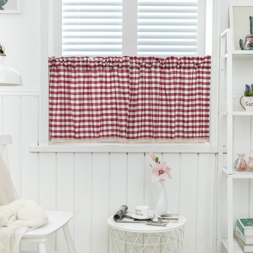 Half Curtain Check Lace Cafe Curtains Farmhouse For Kitchen Bathroom Living Room Ebay