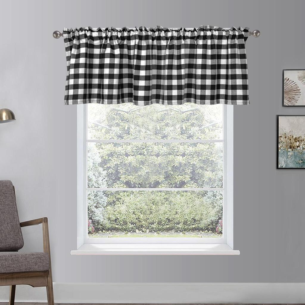 Check Plaid Gingham Window Curtain Valance Farmhouse Kitchen Curtains Ebay