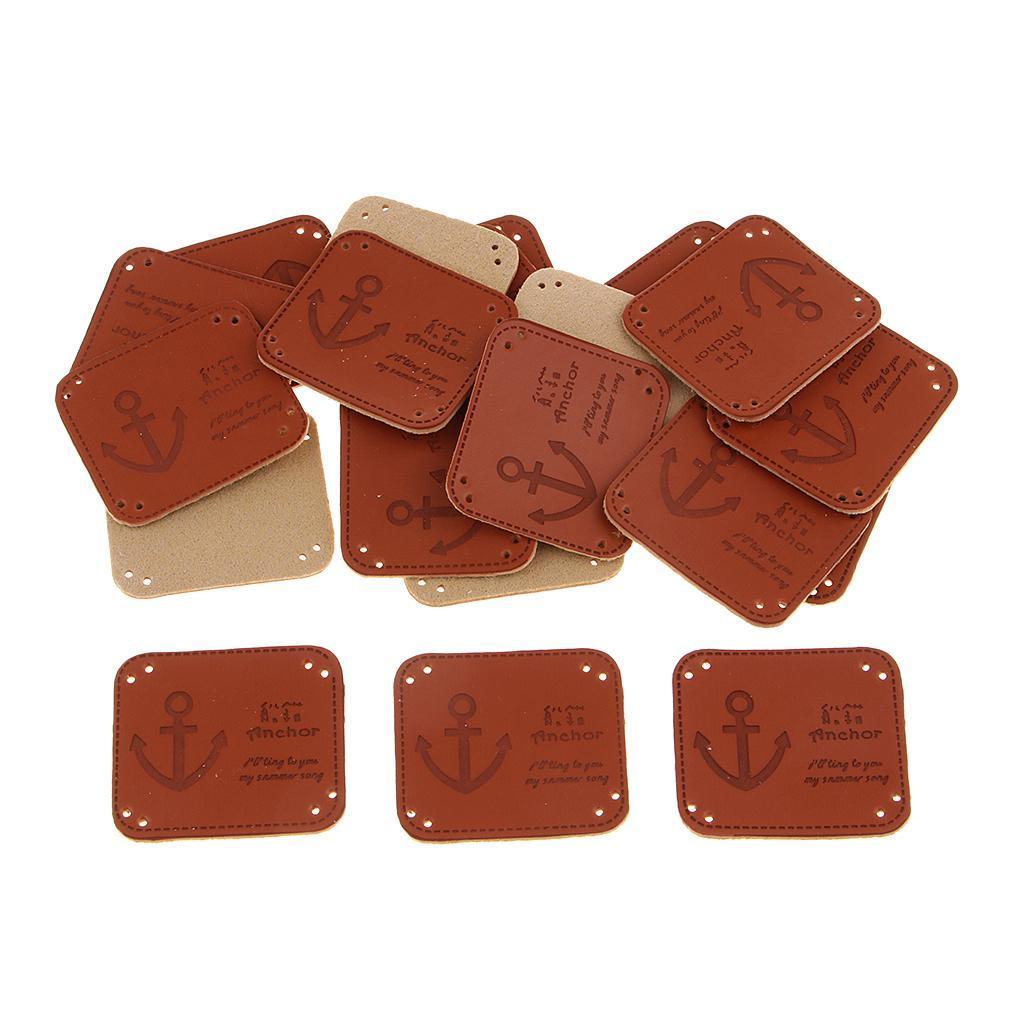 miniatura 8 - Etichette in pelle PU da 20 pezzi per cucire toppe per vestiti Artigianato fatto