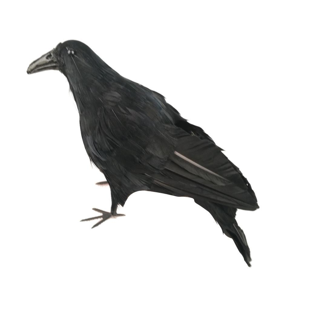 Simulation-Black-Crow-Realistic-Feather-Crow-Artificial-Bird-Raven-Prop-Art-and thumbnail 6