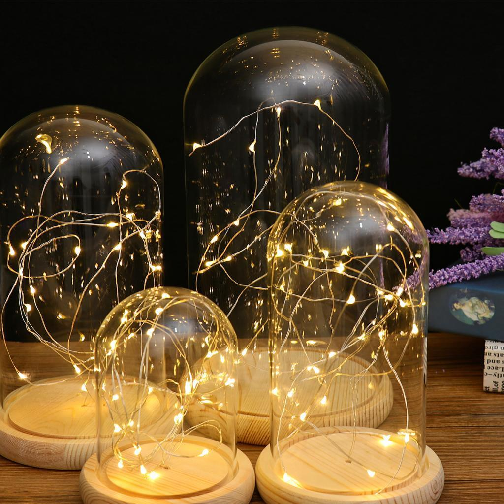 Battery-Operated-LED-Lights-Glass-Cloche-Table-Lamp-Fairy-Lights-Crafts thumbnail 4