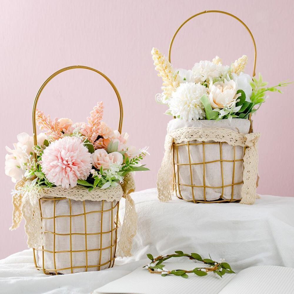 Fiori-artificiali-Mazzi-di-rose-con-vaso-Fiori-di-seta-finti-Fiori-nuziali miniatura 7