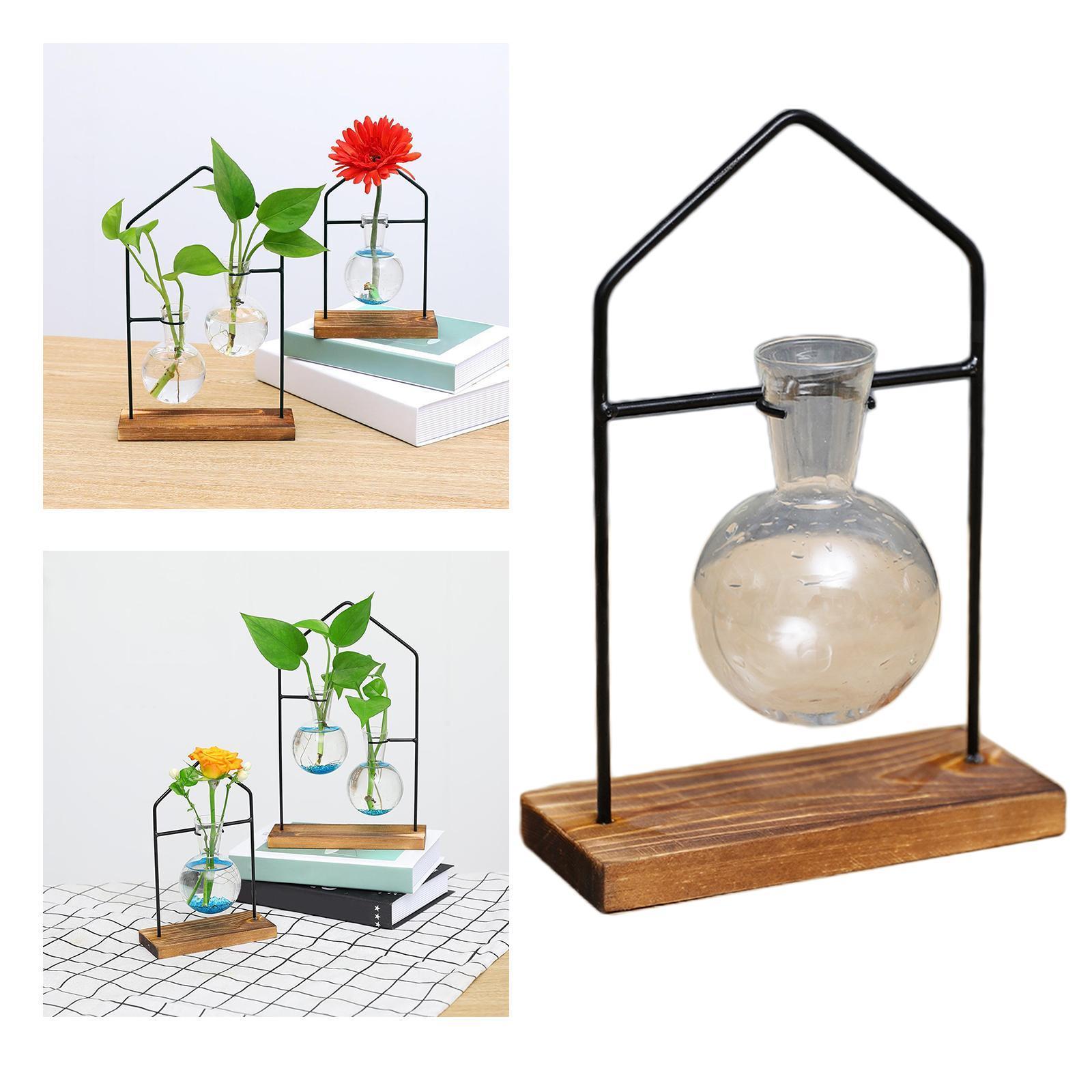 thumbnail 4 - Hydroponic Bonsai Plant Glass Vase Flower Pot Wood Stand Desk Decor