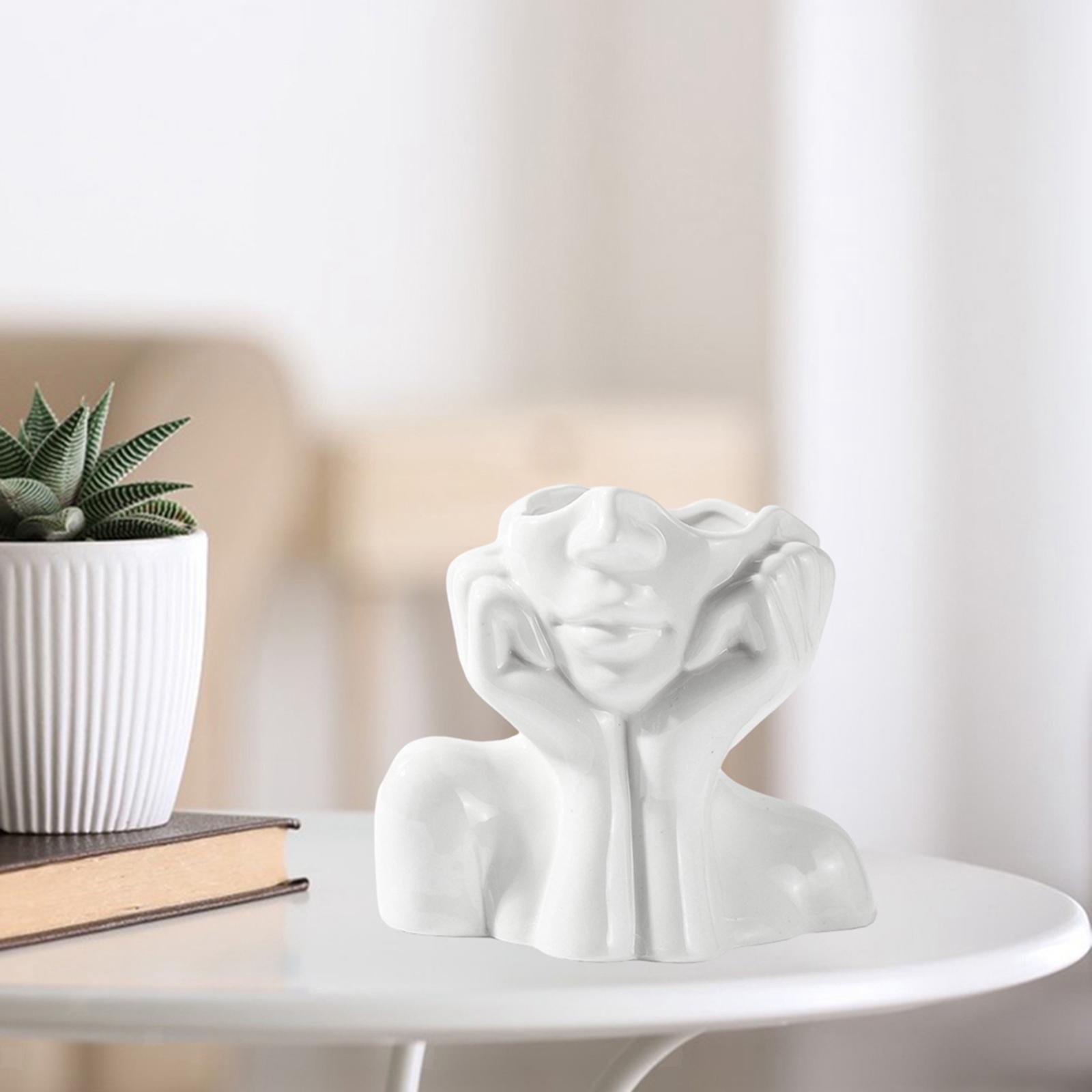 Indexbild 3 - Abstrakte Keramik Mädchen Form Gesicht Vase Chic Kopfform Vase Blumentöpfe
