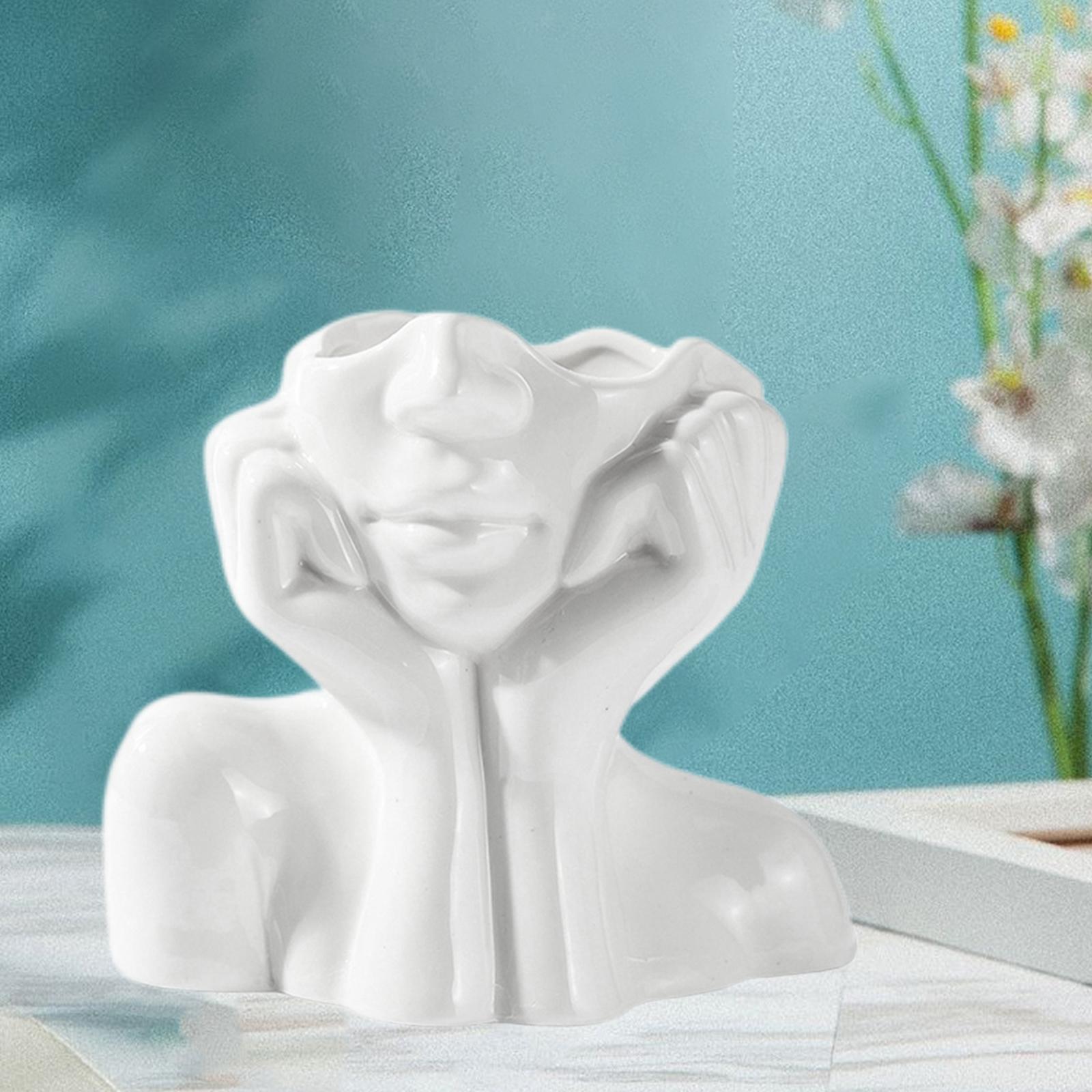 Indexbild 4 - Abstrakte Keramik Vase für weibliches Gesicht Niedliche Blumentöpfe Kleiner