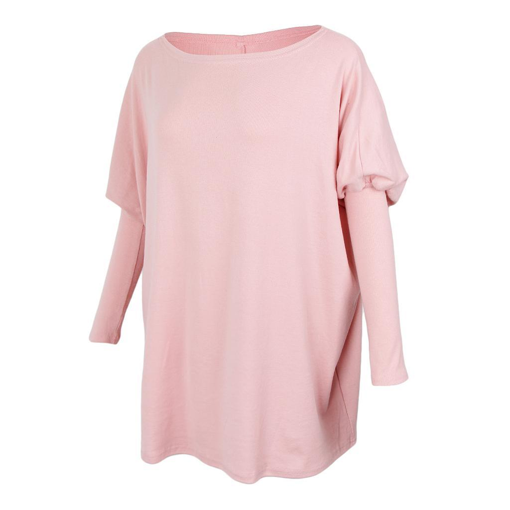 Womens-Long-Batwing-Sleeve-Solid-Pullover-Tops-Casual-Loose-Oversized-Shirts thumbnail 21