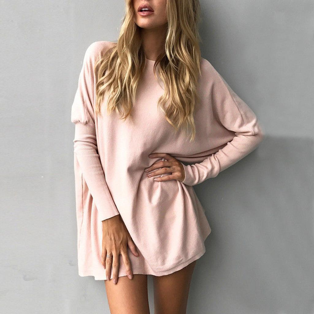 Womens-Long-Batwing-Sleeve-Solid-Pullover-Tops-Casual-Loose-Oversized-Shirts thumbnail 22