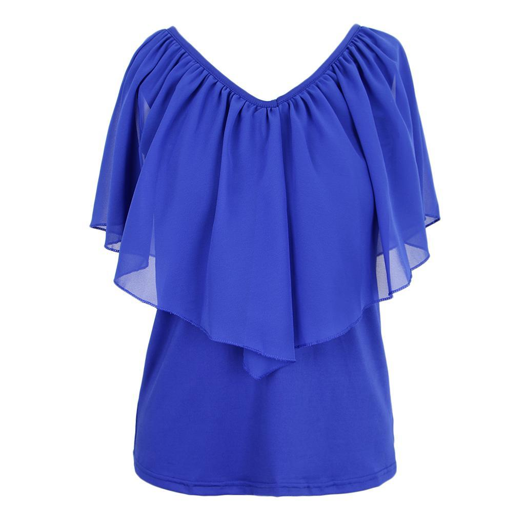 Women-039-s-Casual-Summer-Cold-Shoulder-Cotton-T-shirt-Batwing-Sleeve-Loose-Tops thumbnail 9