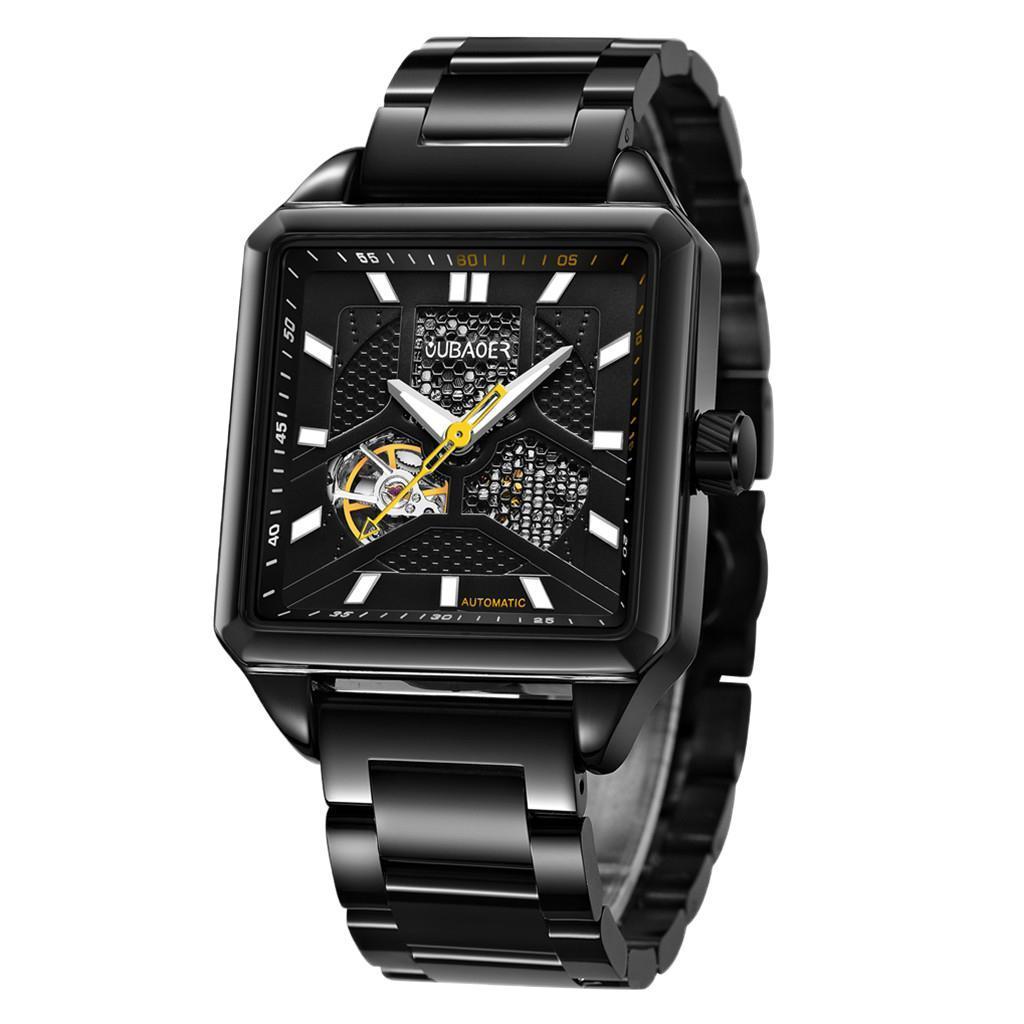 Herren-Armbanduhr-Automatische-Mechanische-Skelett-Armbanduhr-aus-Edelstahl-fuer Indexbild 7