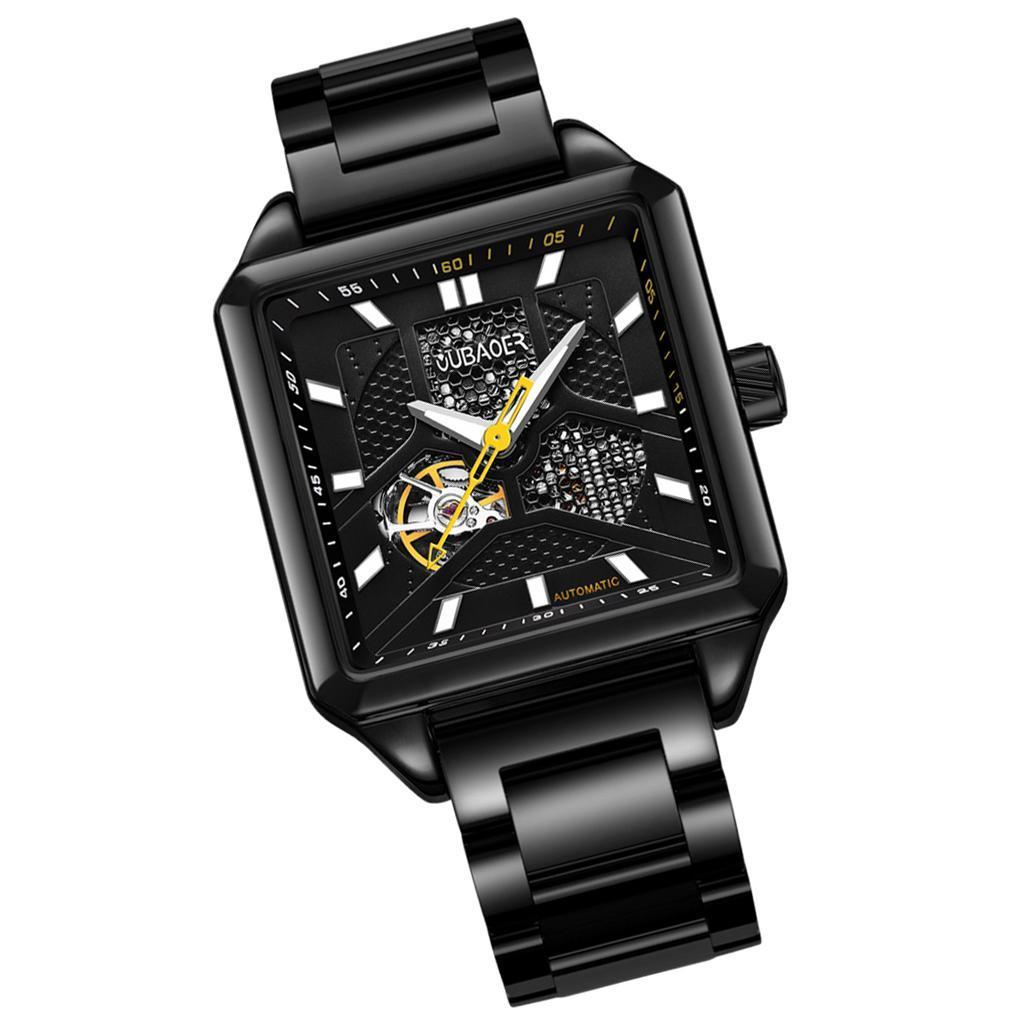 Herren-Armbanduhr-Automatische-Mechanische-Skelett-Armbanduhr-aus-Edelstahl-fuer Indexbild 6