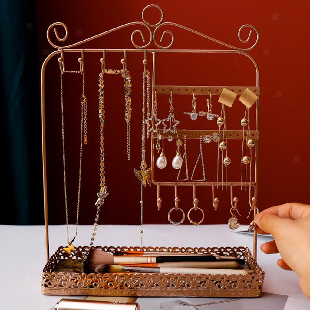 Indexbild 14 - Alle-in-1 Ohrring Halskette Schmuck Display Zeigen Rack Metall Ständer Halter