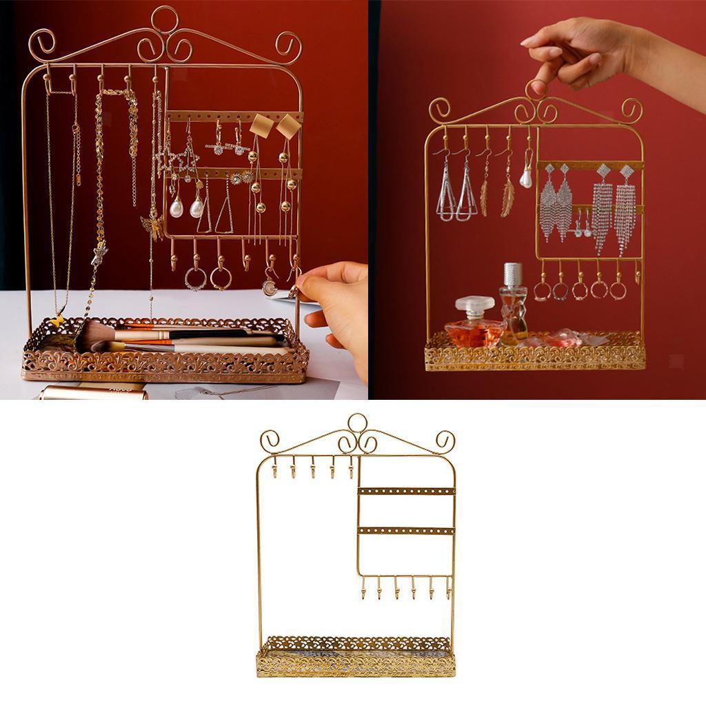 Indexbild 4 - Alle-in-1 Ohrring Halskette Schmuck Display Zeigen Rack Metall Ständer Halter