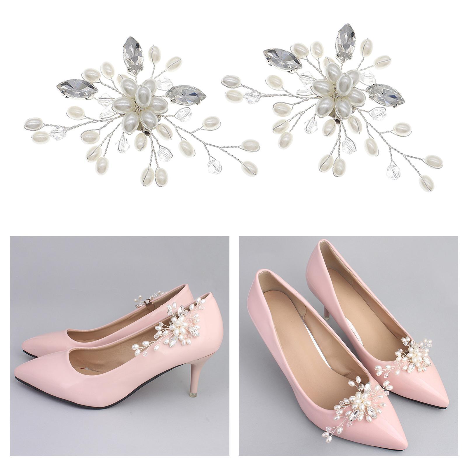 Set of 2 Shoe Clips Women Weddings Party High Heel Shoe Charms Buckle Decor