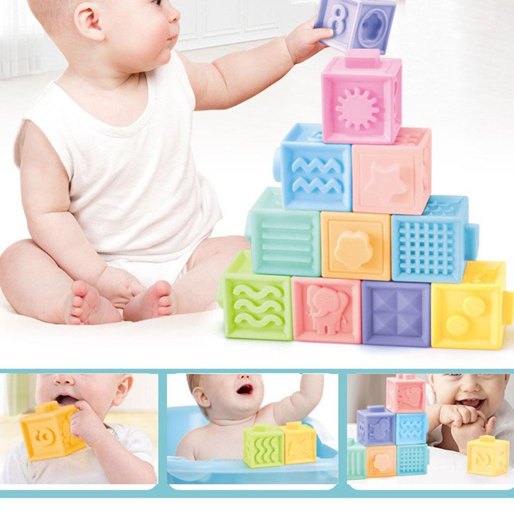 thumbnail 6 - Cartoon Baby Grasp Building Blocks 3D Embossed Touch Stacking Balls Squeeze