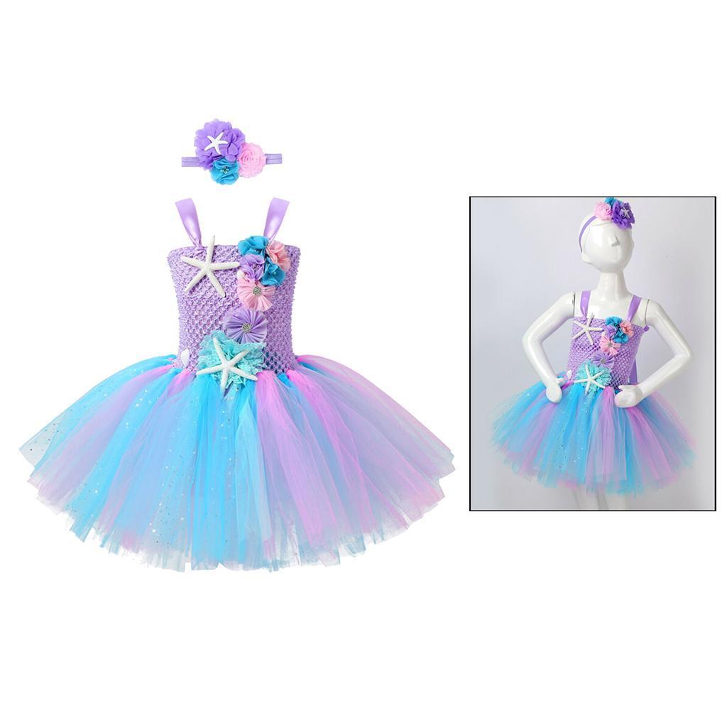 thumbnail 30 - Mermaid Tutu Dress Cosplay Kids Mermaid Costume 3 4 5 6 Years Old
