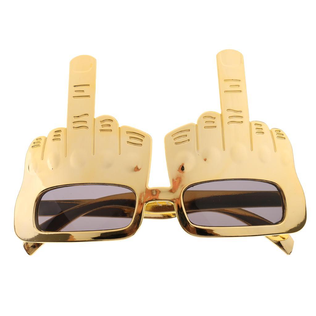 Blesiya Novelty Gold Middle Finger Gesture Sunglasses Funny Party Glasses