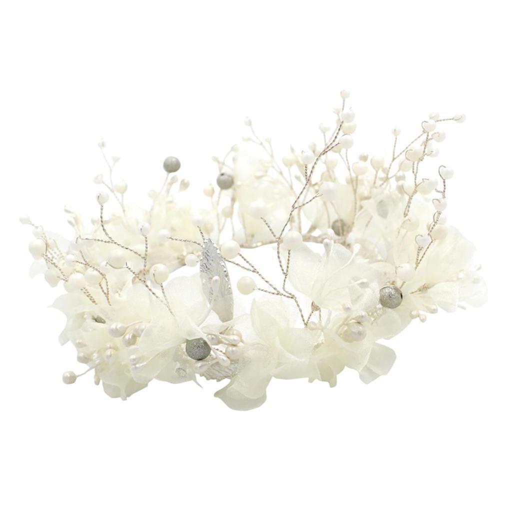 thumbnail 7 - Bridal Chiffon Flowers Rhinestone Crystal Headband Wedding Tiara Crown Prop