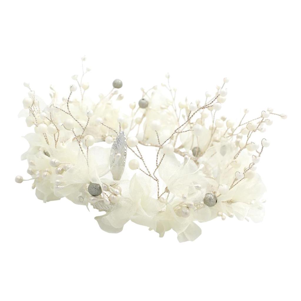 thumbnail 4 - Bridal Chiffon Flowers Rhinestone Crystal Headband Wedding Tiara Crown Prop