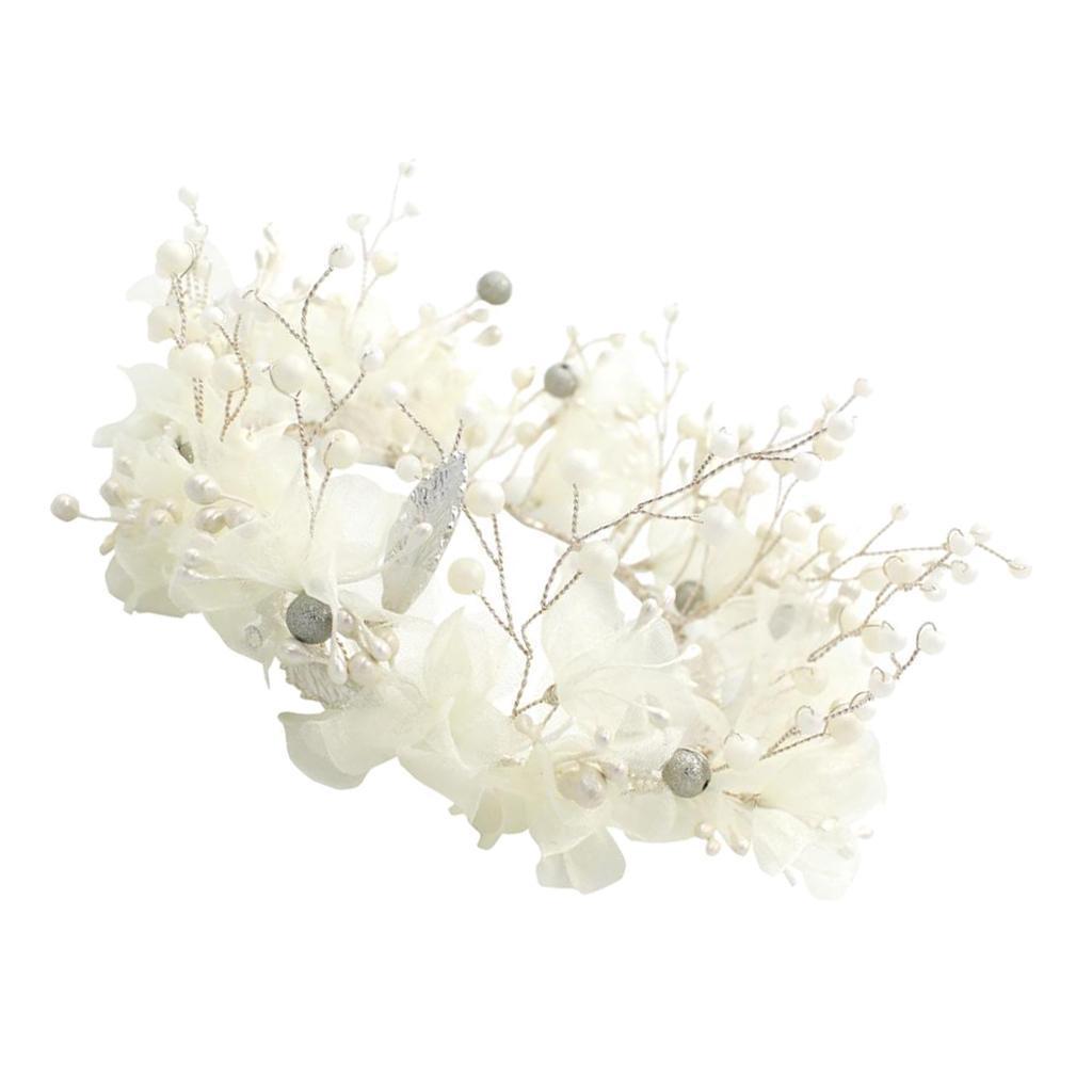 thumbnail 6 - Bridal Chiffon Flowers Rhinestone Crystal Headband Wedding Tiara Crown Prop