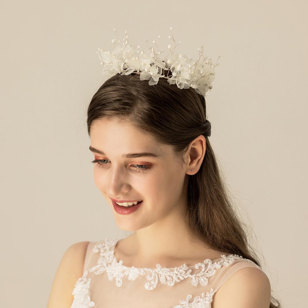 thumbnail 8 - Bridal Chiffon Flowers Rhinestone Crystal Headband Wedding Tiara Crown Prop