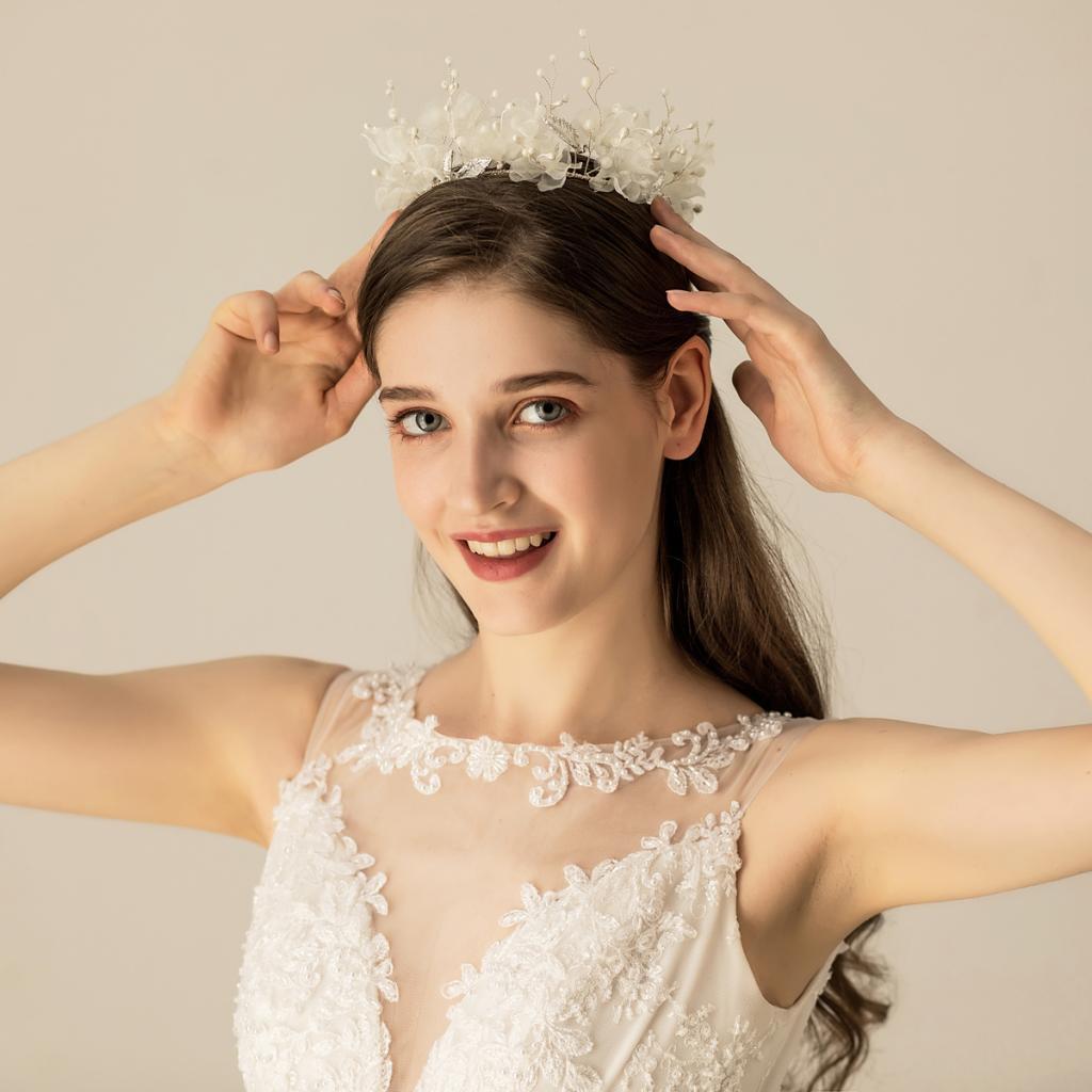 thumbnail 5 - Bridal Chiffon Flowers Rhinestone Crystal Headband Wedding Tiara Crown Prop