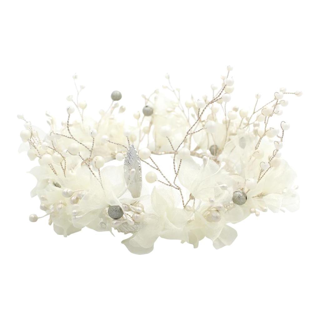thumbnail 10 - Bridal Chiffon Flowers Rhinestone Crystal Headband Wedding Tiara Crown Prop