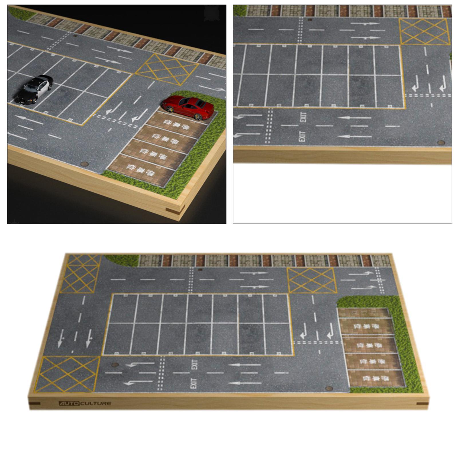 miniature 17 - En bois Diorama 1/64 Sol Parking Lot Scène pour Alliage Jouet De Voiture