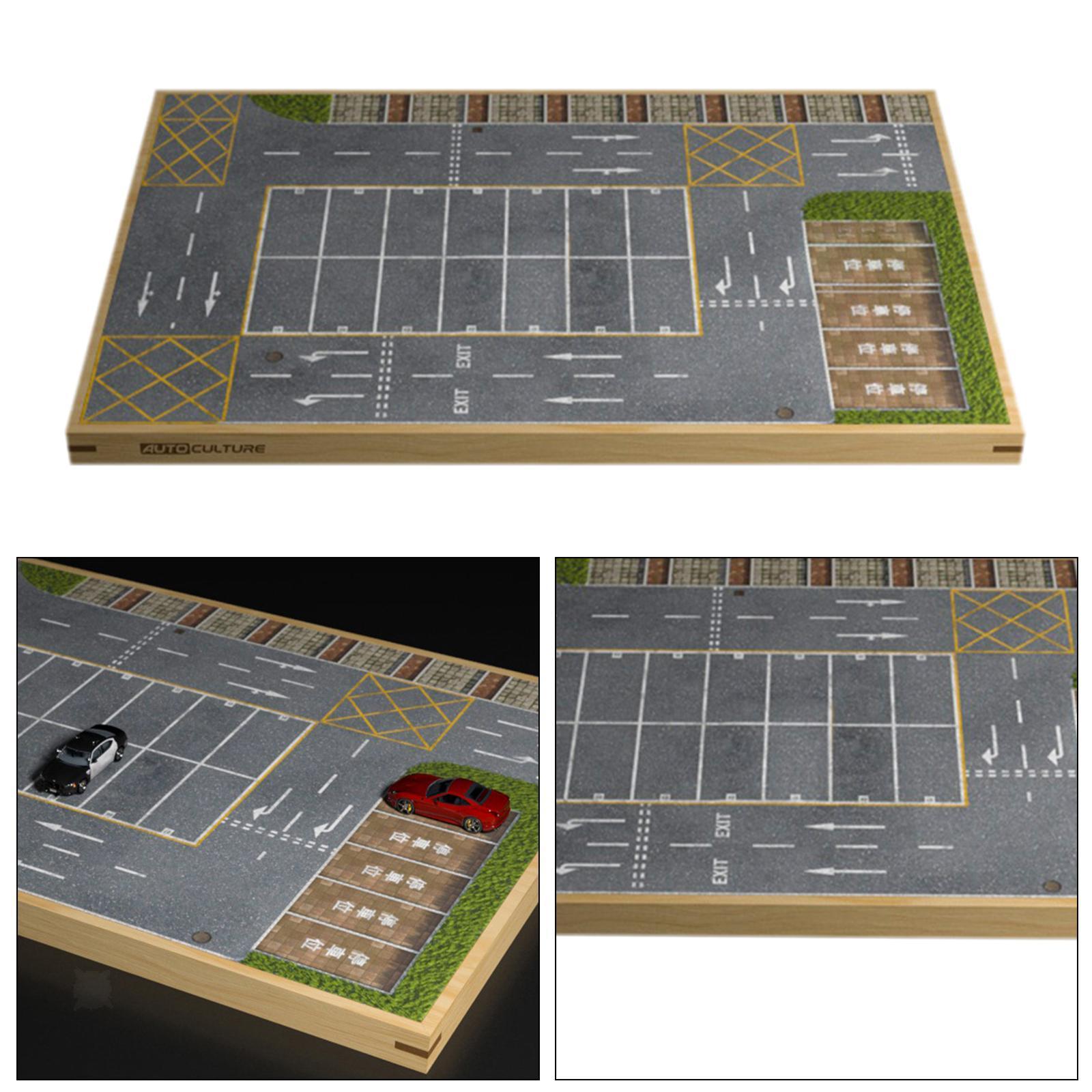 miniature 16 - En bois Diorama 1/64 Sol Parking Lot Scène pour Alliage Jouet De Voiture