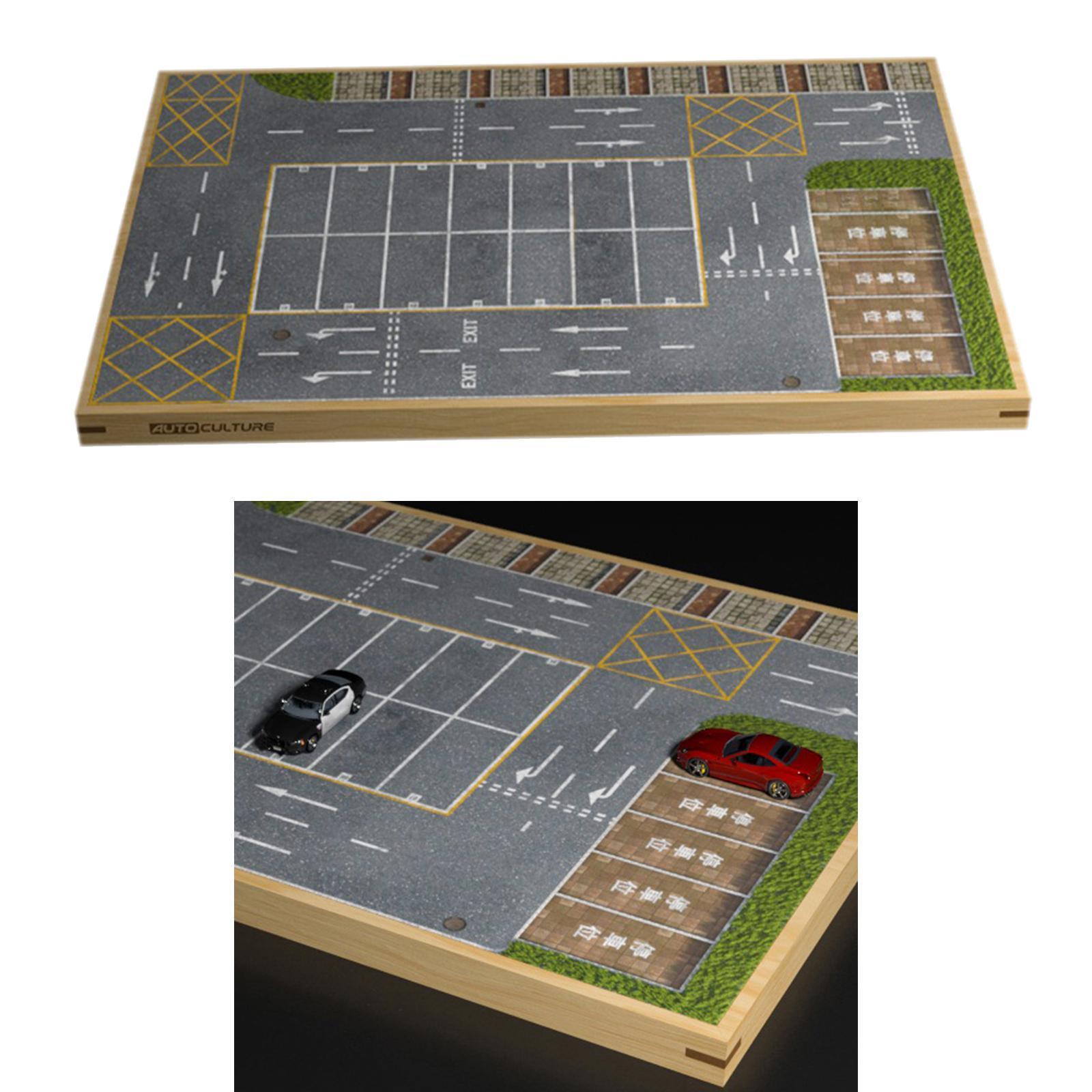 miniature 14 - En bois Diorama 1/64 Sol Parking Lot Scène pour Alliage Jouet De Voiture